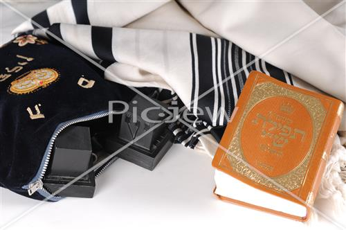 tallis, a siddur and tefillin in velvet bag