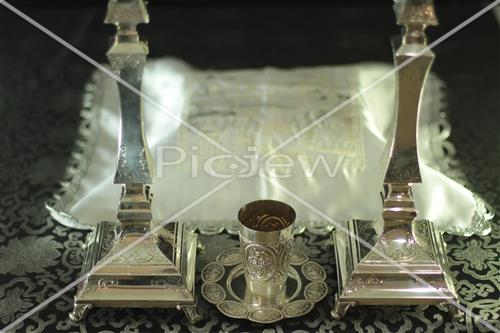Candlestick and kiddush cup