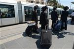 Yeshiva students by way of public transportation in Jerusalem